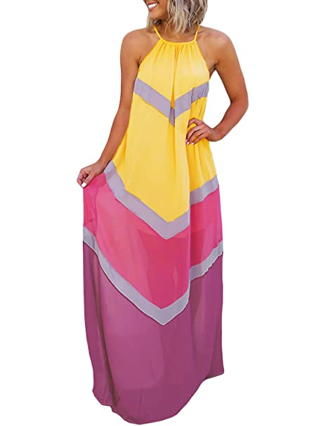 87cb9bc26880b Lovezesent Women Summer Halter Bohemian Style Colorblock Long Maxi Dress  Beach