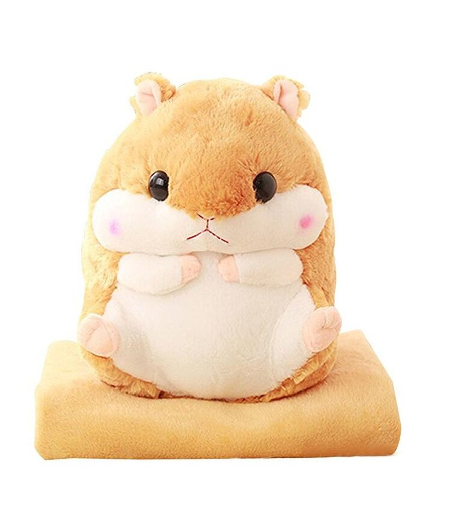 Judy Dre am Cute Cartoon Hamster Pillow Blanket Plush Animal Pillow Toys Coral Velvet Blanket Children's Fat Hamster Doll Birthday/Christmas by Judy Dre am
