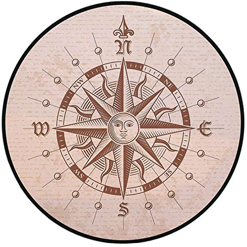 Printing Round Rug,Compass,Old Compass Rose A Sun Face Lady on It Instrument Distances Between Points Graphic Mat Non-Slip Soft Entrance Mat Door Floor Rug Area Rug for Chair Living Room,Tan Brown (Graphic Rose Rug)