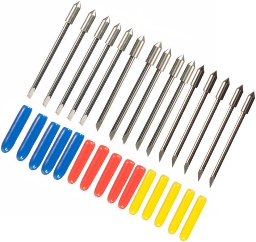 Yakamoz Pack de 15 cuchillas para cortador de vinilo de corte plotter Graphtec CB09 Silhouette Cameo Craft Robo Pro con suspensión para, 30/45/60 Grado: Amazon.es: Bricolaje y herramientas