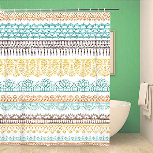 Awowee Bathroom Shower Curtain Border Crochet Ethnic Pattern Knitted Lacy on Boundless Contour Polyester Fabric 72x72 inches Waterproof Bath Curtain Set with - Filet Curtains Crochet