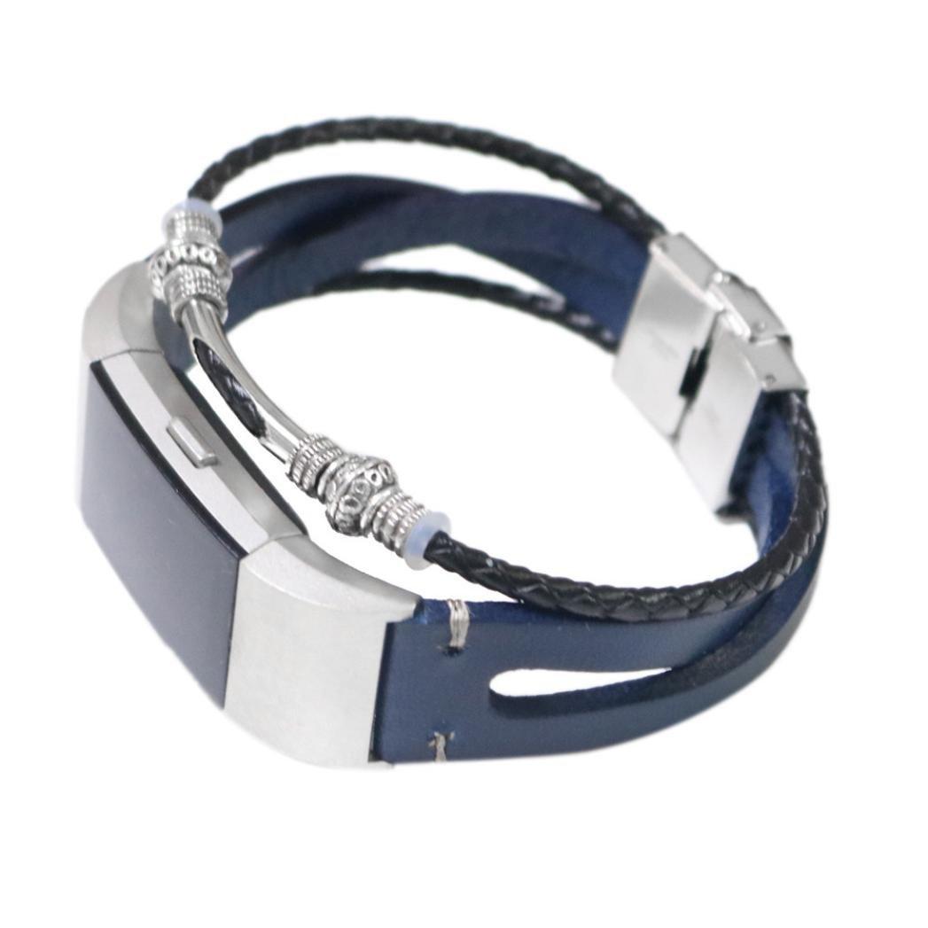 BZLine® Für Fitbit Charge 2 Band Ledergurte, Verstellbare Original Classic Ersatz-Armband für Charge 2 Fitness-Zubehör mit Metallsteckern (Gold)