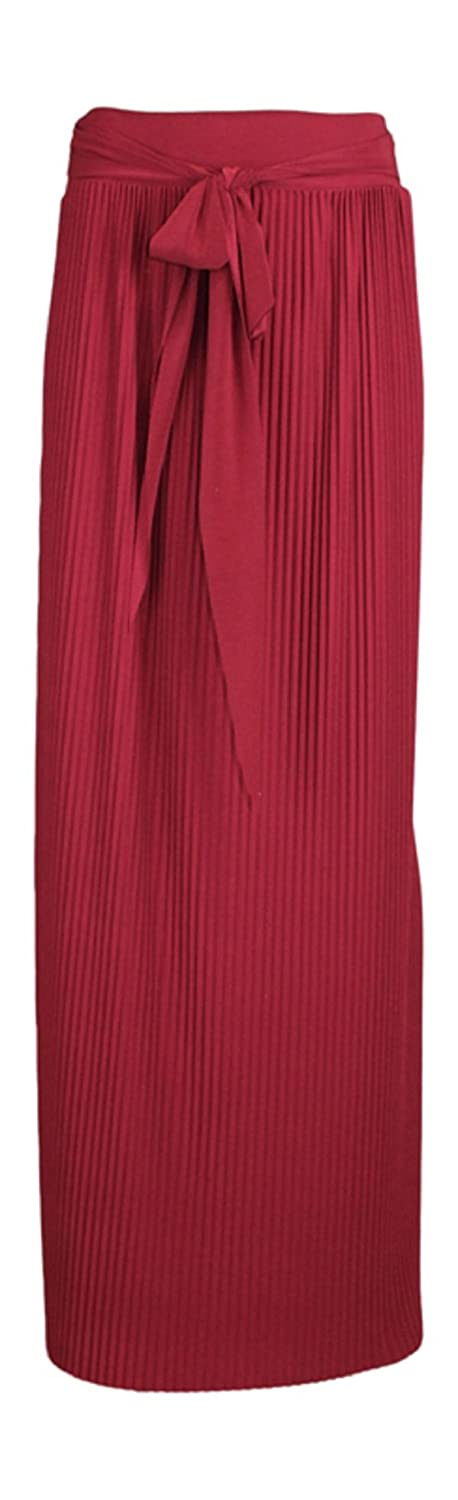 Ozmoint Womens Ladies Pleat Pleated Plisse Tie up Front Belt Long Maxi Skirts Modest Abaya Stretch Full Length Skirt (UK One Size)