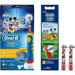 Braun Oral-B Advance Power Kids 950 TX - Cepillo de dientes eléctrico infantil (incluye 2 cabezales Stages Power de recambio con diseño de Mickey Mouse)