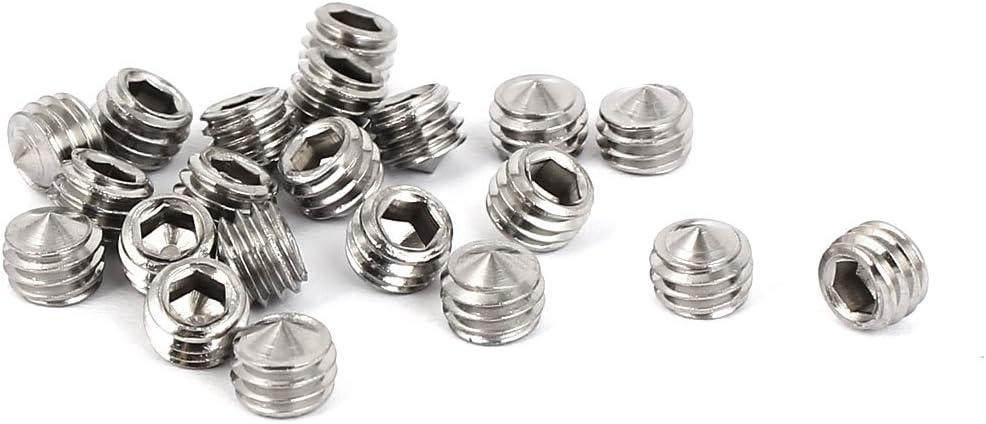 uxcell 50Pcs M4x3mm Internal Hex Socket Set Grub Screws Cone Point 304 Stainless Steel Screw