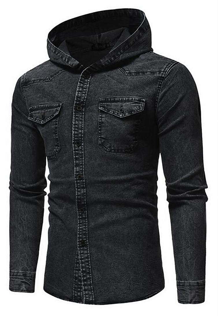 Pivaconis Mens Slim Fall Winter Hooded Button Down Pockets Washed Casual Denim Work Western Shirt