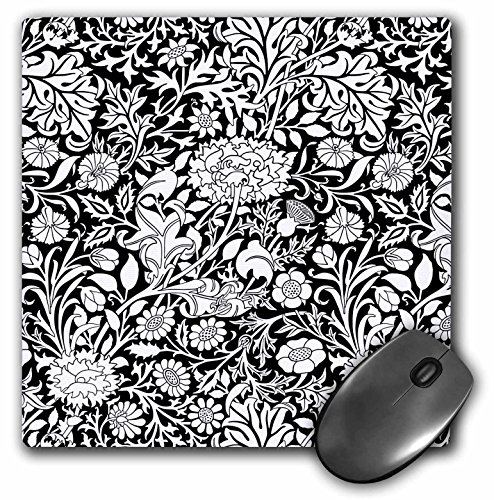 3dRose Russ Billington Patterns - William Morris Cherwell Chintz Pattern in Black and White - Mousepad (mp_219030_1) ()