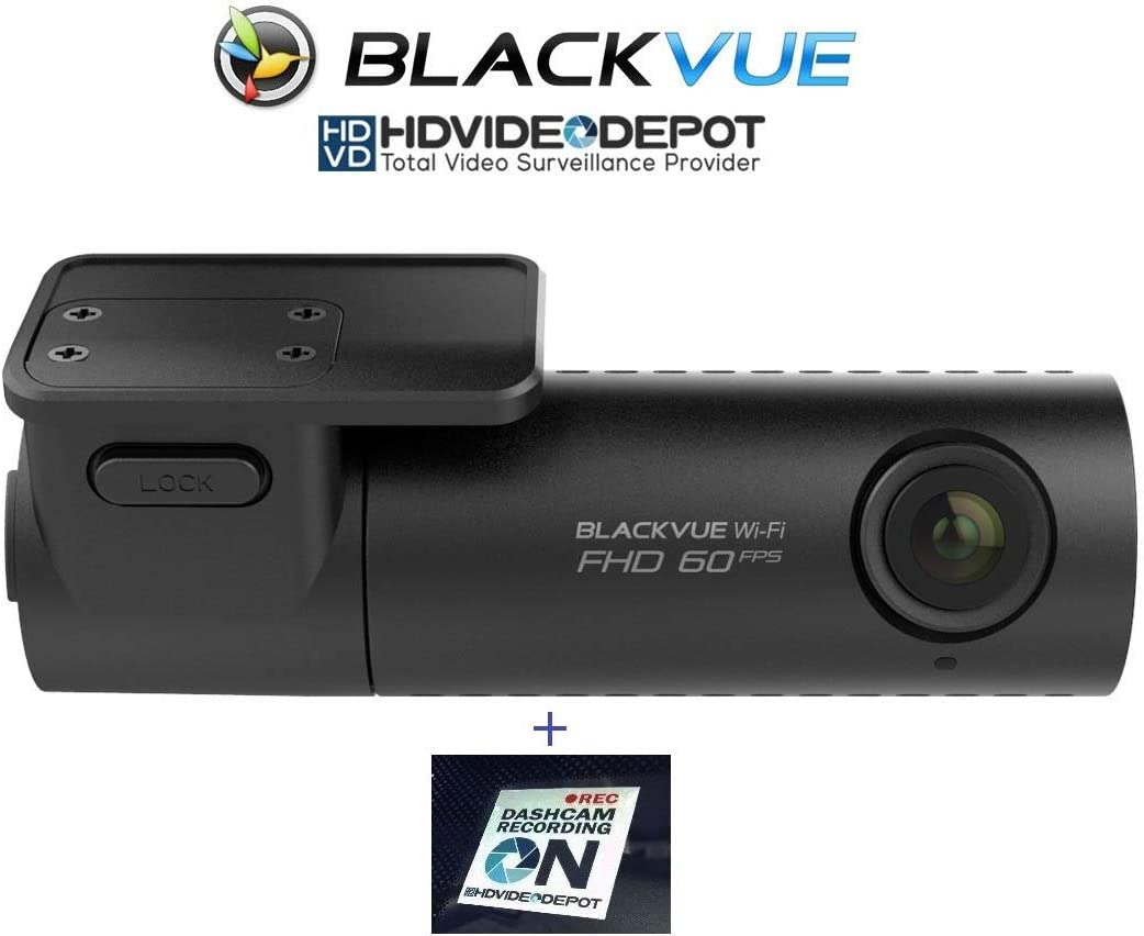 BlackVue New DR590W-1CH 32GB, Car Black Box Car DVR Recorder, Full HD 1080p Front, 60FPS, Built-in Wi-Fi, G Sensor, 32GB SD Card HDVD Warning Sign Included