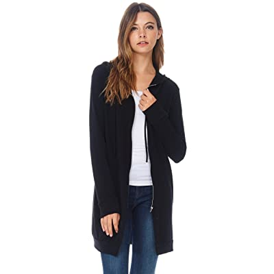 A+D Womens Casual Zipper Long Hoodie Tunic Sweatshirt Jacket
