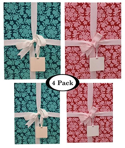 Gift Boxes With Lids All Occasion - 4 pack Assortment Bundle – Includes Ribbon and Card Tag (Henna Garden Set)