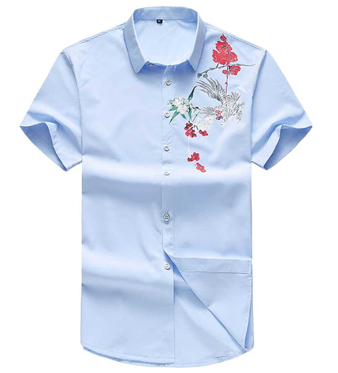 Qiangjinjiu Men Short Sleeve Embroidered Solid-Colored Turn Down Collar Fashional Slim Fitted Dresses Shirt