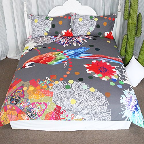 Colorful Tropical Parrot Duvet Cover Set 3 Pieces Watercolor Bird of Paradise Flowers Bedspread Coverlet Set Botanical Painting Bedding Set - Paradise Bedding Set