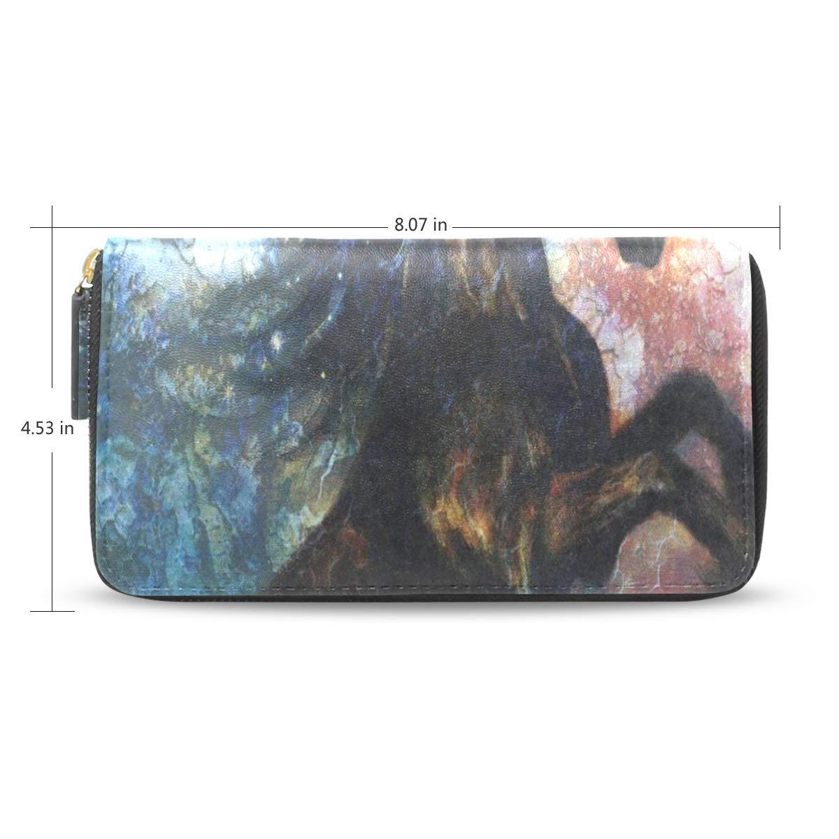 Womens Wallets Black Unicorn Art Painting Leather Passport Wallet Coin Purse Girls Handbags