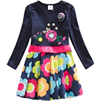 VIKITA Toddler Flower Girl Dress Cotton Long Sleeve Baby Girls Winter Dresses for 2-8 Years