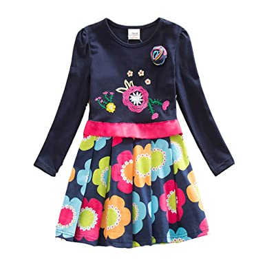 7344a9986 VIKITA Winter Toddler Girl Clothes Cotton Long Sleeve Girls Dresses for  Kids 2-8 Years