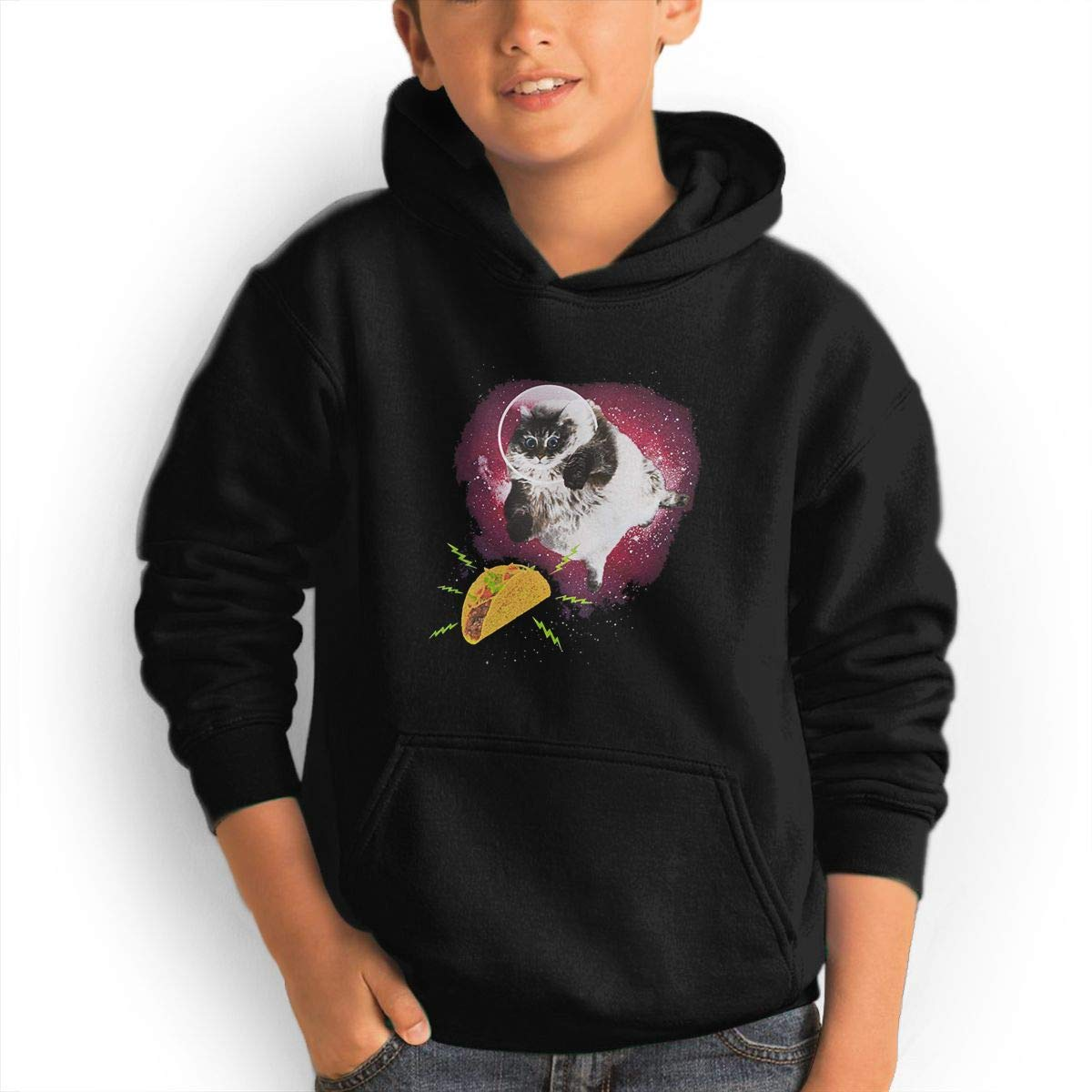 Space Cat with Tacos Youth Boys/Girls Hoodie Sweatshirt Hooded with Pocket S