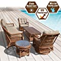 BenefitUSA 5pc Wicker Rattan Table Chair Patio Sofa Furniture Set with Cushions Outdoor Garden W/ 3 Chairs and 2 Tables