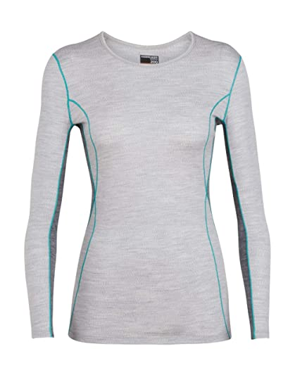 72d0709662cd Icebreaker Merino Women's 200 Oasis Deluxe Long Sleeve Crewe Base Layer Tops,  X-Small