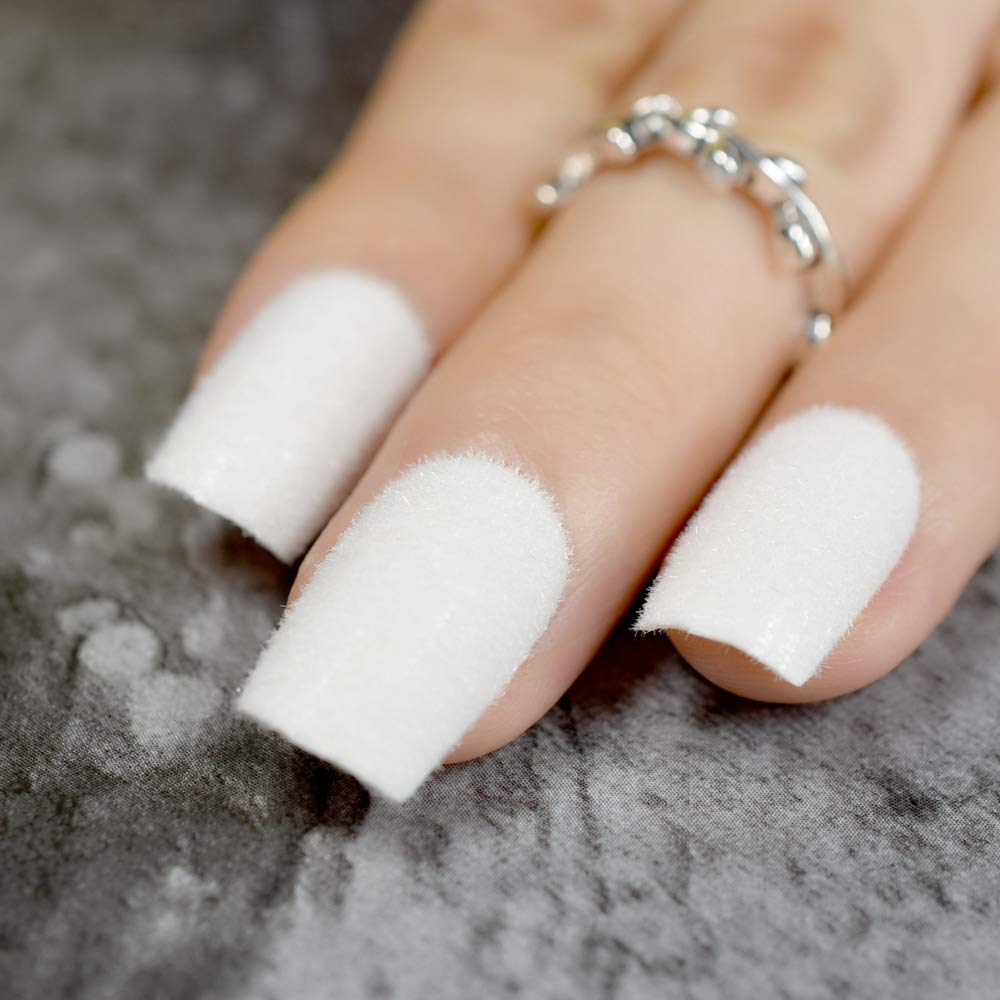 Amazon.com : White Swan Fake Nails Pure Matte Flocking Velvet Medium Square Ladies False Nails Kit 24Pcs With Glue Sticker white swan : Beauty