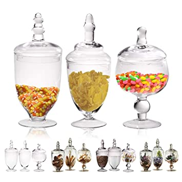 Marvelous Small Glass Apothecary Jars With Lids 3 Pc Kitchen Canisters 8 9 11 Inch Bathroom Organizers Decorative Storage Containers For Cookie Candy Interior Design Ideas Inesswwsoteloinfo
