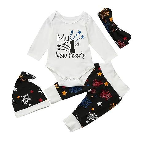 Bebé recién Nacido Ropa Set Unisex de año Trajes Pelele Ropa + Pantalones + Sombrero Diadema