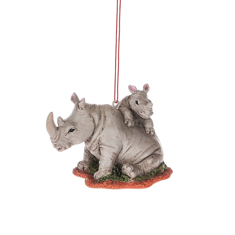 Midwest CBK 3.5'' x 2.5'' Rhino with Baby Christmas Ornament