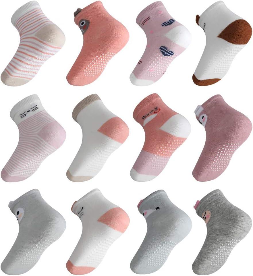 Lictin 12 Paires de Chaussettes Antid/érapants B/éb/é en Coton en Bas /âge Non-glissement pour Nouveau-n/és et Enfants Gar/çons(0-12 Mois)