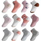 Licitn 12 Pares de Calcetines Antideslizantes para Niñas - Calcetines de Algodón de Bebés con Diseño de Patrón Animal…
