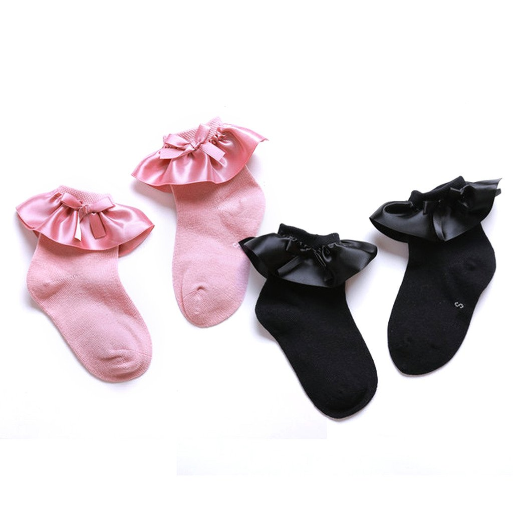 Baby Girls Pink Black Ruffle Frilly Cotton Socks Princess Style 2 Pairs 2-4 Y