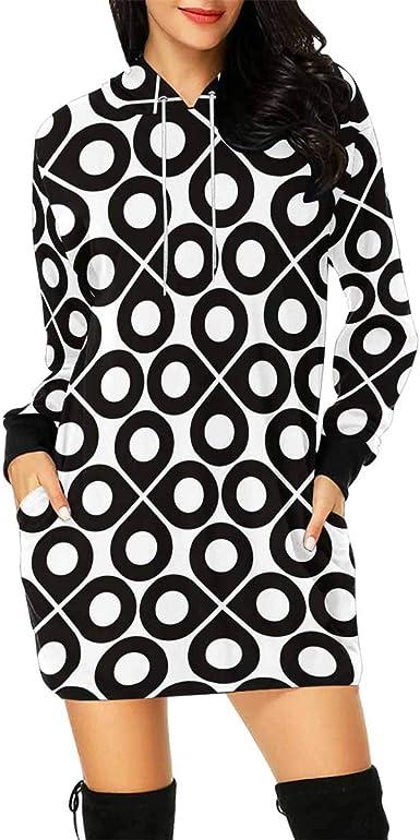 INTERESTPRINT Womens Long Sleeve Mini Hoodie Dress Drops Polka Dots Drawstring Pullover Sweatshirt