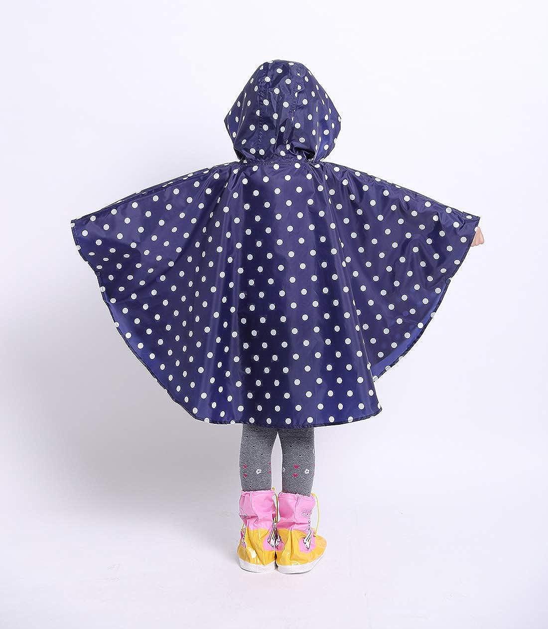D C.Supernice Kids Poncho Waterproof Unisex Toddler Boys Girls Cute Stars Pattern Hooded Cape Rain Coats with Portable Waterproof Bag