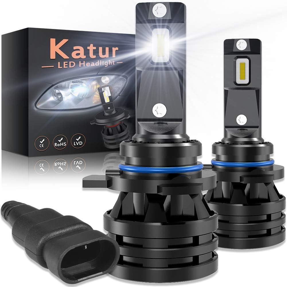 KATUR 9012 HIR2 Led Bombillas para Faros Delanteros Diseño Mini Chips de CREE mejorados 12000 LM Kit de conversión LED Todo en uno a Prueba de Agua 55W 6500K Xenon Blanco-2 años de garantía