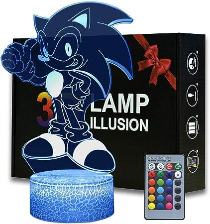 3d Sonic El Erizo Ilusión Luz Nocturna, Lámpara De Mesa De Dibujos Animados Con Control Remoto 16 Colores Cambian, Regalo De Cumpleaños Para Niños: Amazon.es: Iluminación