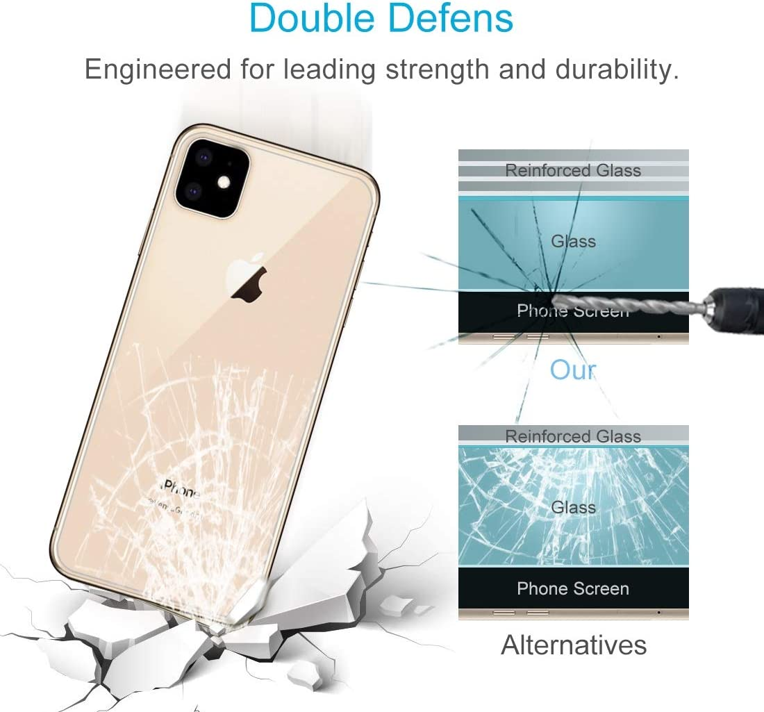 XHC Screen Protector 50 PCS for iPhone 11 9H 2.5D Half Screen Transparent Mobile Phone Tempered Glass Film Back Film Tempered Glass Film