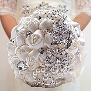 Made to order Brooch Bouquet Wedding Bridal Flowers Satin Roses Bride Bridesmaids 14