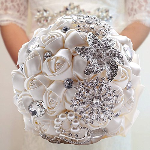 Abbie Home Advanced Customization Romantic Bride Wedding Holding Toss Bouquet Rose with Pearls and Rhinestone decorative brooches Accessories-Multi color selection (Milk White)