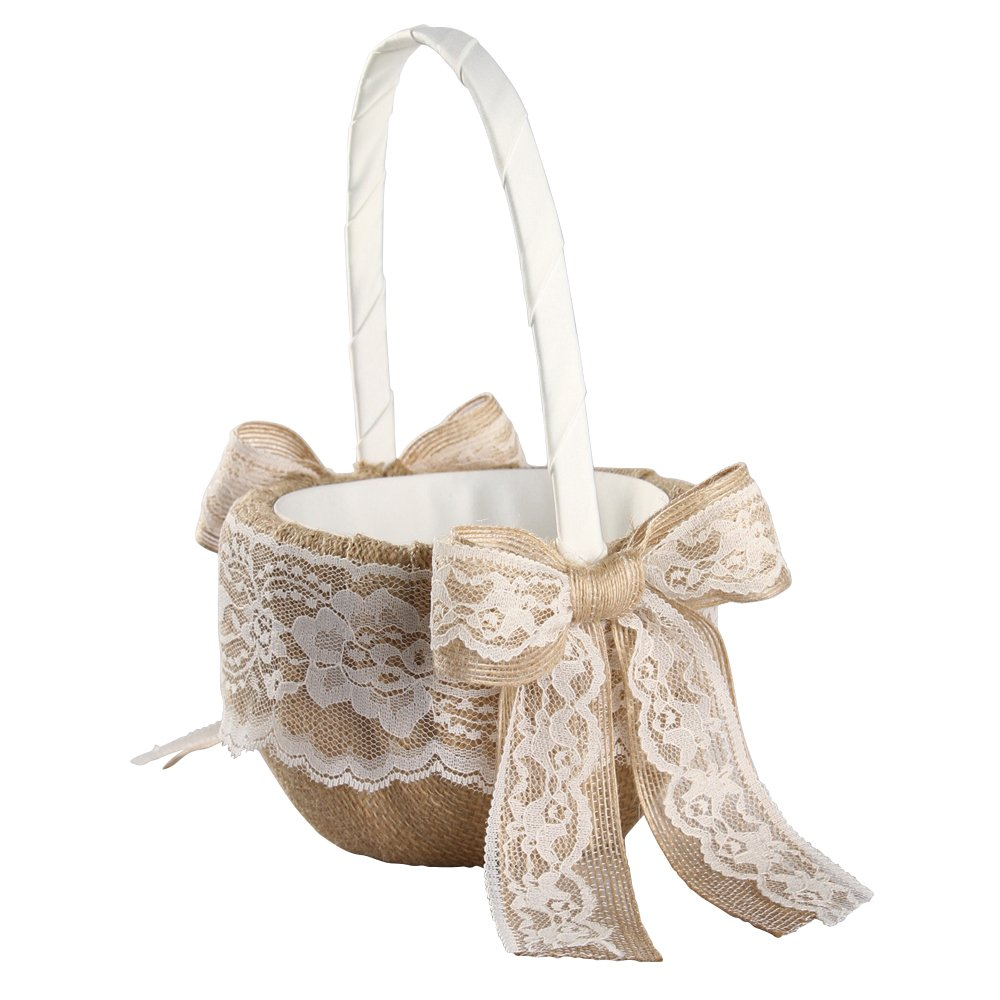 Ivy Lane Design Country Romance Flower Girl Basket, 9.5 by 6-Inch, Ivory