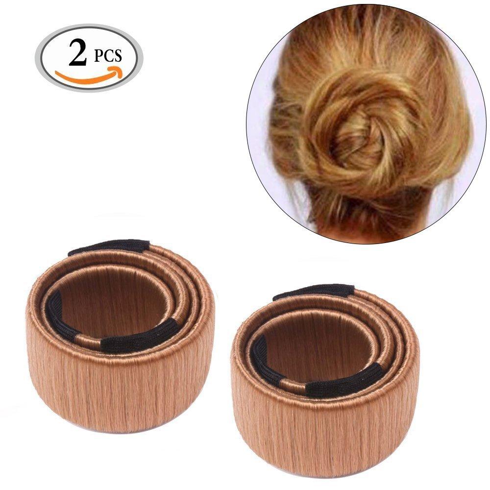 Hair Bun Maker Travelmall Fashion Haar Styling Tool 2 Stücke (Hellbraun)