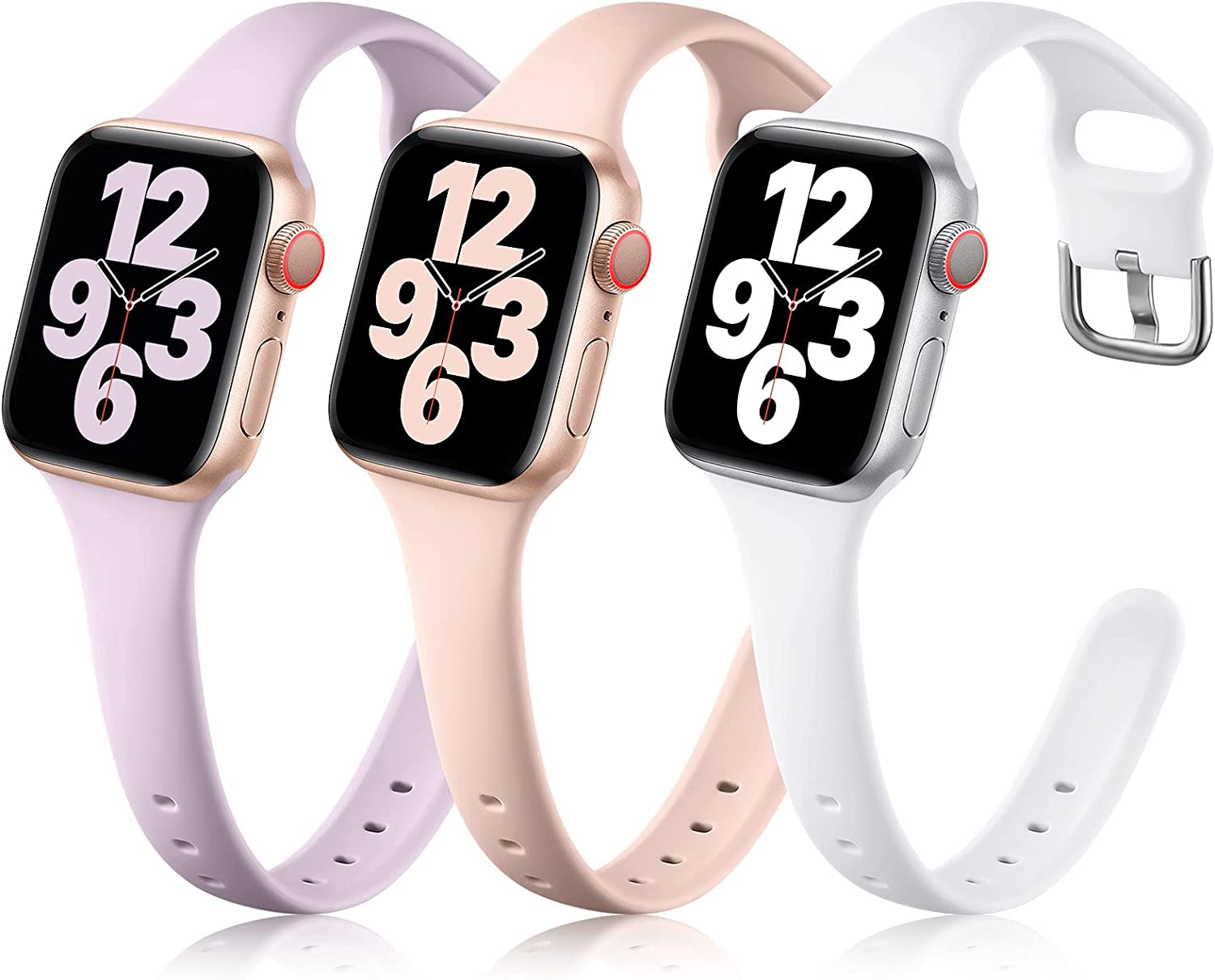 Getino Compatible with Apple Watch Bands 38mm 40mm 42mm 44mm for Women Men, Stylish Slim Silicone Replacement Band for iWatch Series SE 6 5 4 3 2 1 3 Pack, Pink/ Lavender/ White 42/44mm