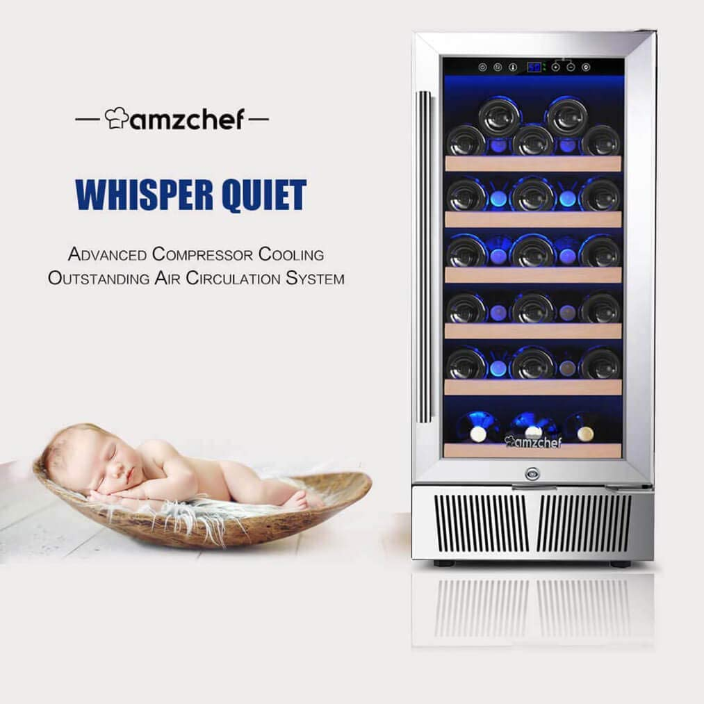 AMZCHEF 15 Wine Cooler Refrigerator Built in or Freestanding Wine Cooler, Quiet, Constant Temperature Energy Efficient