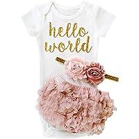 TTYAOVO Bebé Niña 1er cumpleaños 3pcs Conjuntos con Diadema de Unicornio y Mameluco y Faldas
