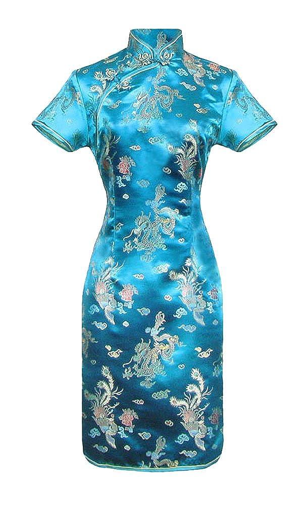 Blaues kurzes Chinesisches kleid qipao /ärmelkurz von Gr/ö/ße 38 bis 48
