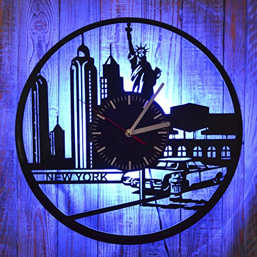 City LED Light Wall Clock Original Handmade City Style Art The Best Decor for Home Interior Best Friend Gift New Year, Birthday, Xmas Gift