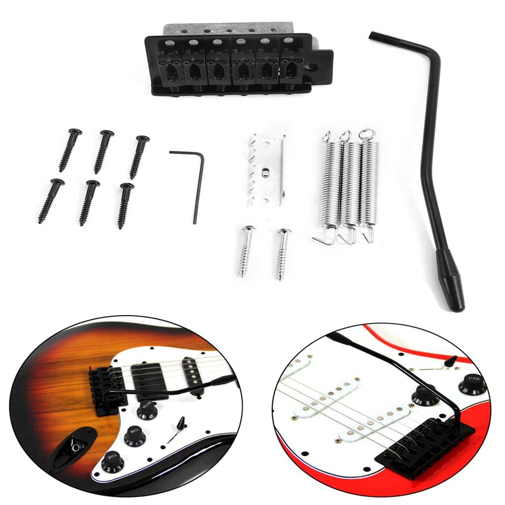 Black 6 String Guitar Tremolo Bridge+Boat Jack+Neck Plate for Stratocaster Replacement
