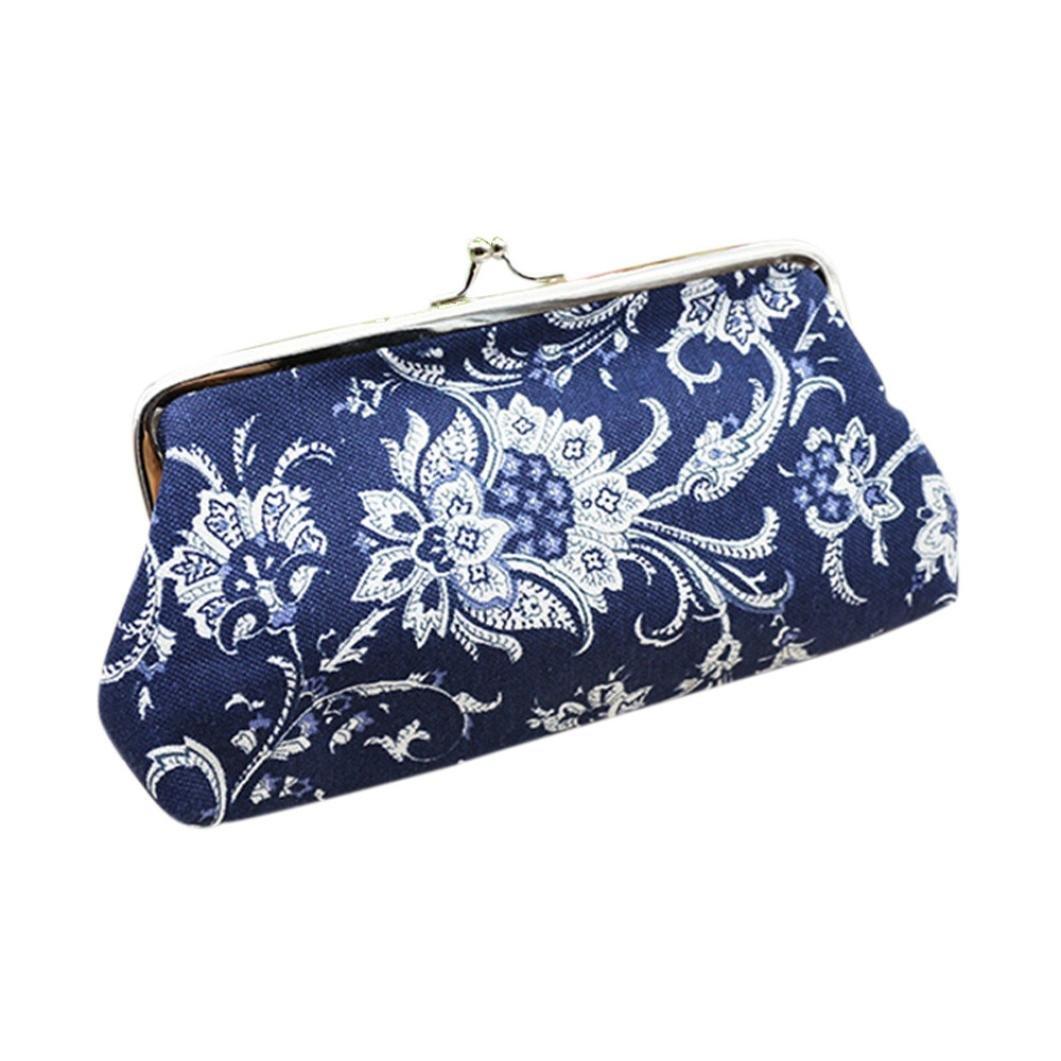 Womens Vintage Floral Coin Purse Wallet Canvas Card Holder Small Clutch Wallet Handbag Clasp Closure (189.5cm, Blue)