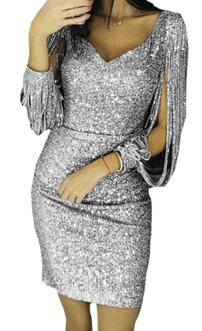 ainr Women V Neck Sequin Party Dress Tassels Detail Slit Sleeve Mini Dress