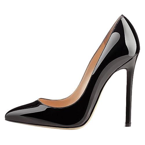 4bd76bad263c Kolnoo Women s 120mm Pointy Patent Court Shoes Classic Office Party Dress High  Heel Pumps Black US5