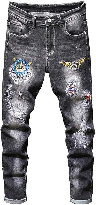 Nobrand Diseno De Parche Con Insignia Para Hombre Jeans Negros Grises Pantalones De Mezclilla Elasticos Rasgados Bordados Amazon Es Ropa Y Accesorios