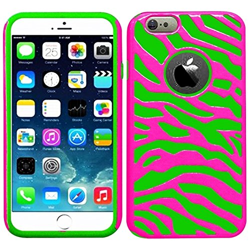 Neon Pink Green (HR Wireless Apple iPhone 6 Plus (5.5 Inch) Zebra Hybrid Cover Case - Retail Packaging - Hot Pink/Neon Green)