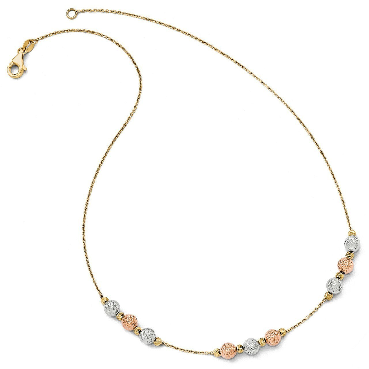 Lex & Lu Leslie's 14k Tri Colored D/C Beaded Necklace-Prime